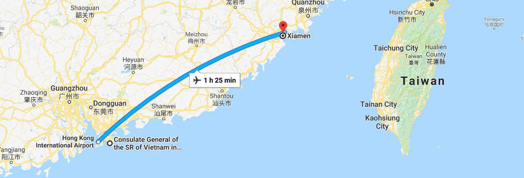 How to get from Xiamen to the embassy in Hong Kong